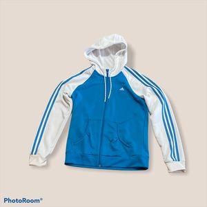 Adidas white & blue  zip up hoodie